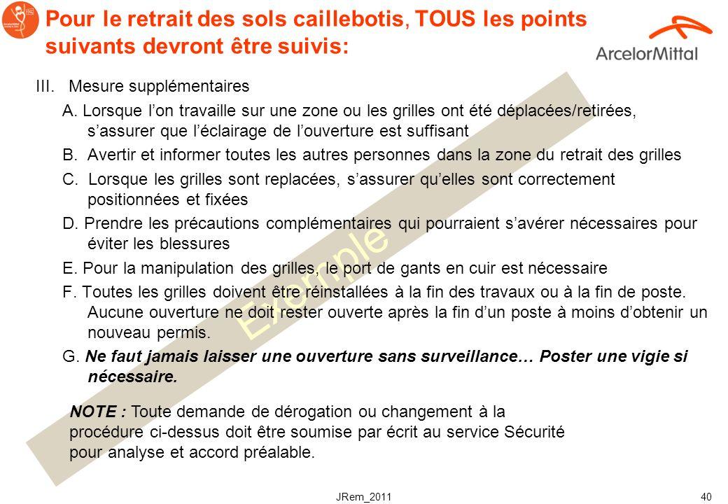 JRem_2011 39 Exemple Pour le retrait des sols caillebotis, TOUS les points suivants devront être suivis: II. Pour le retrait des caillebotis: A. Sassu