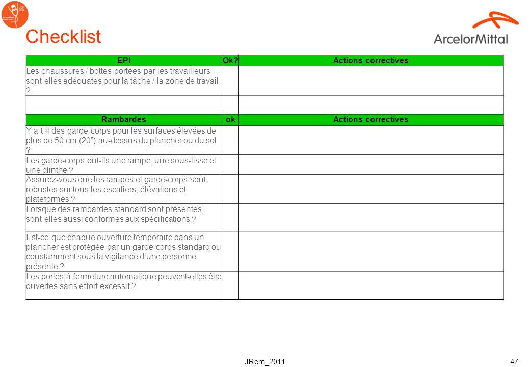 JRem_2011 46 Checklist Environnement de travailOk?Actions correctives Est-ce quun programme de housekeeping (rangement-nettoyage) est documenté et fon