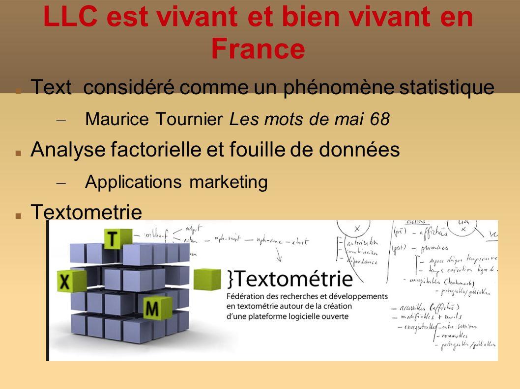 LLC est vivant et bien vivant en France Text considéré comme un phénomène statistique – Maurice Tournier Les mots de mai 68 Analyse factorielle et fouille de données – Applications marketing Textometrie