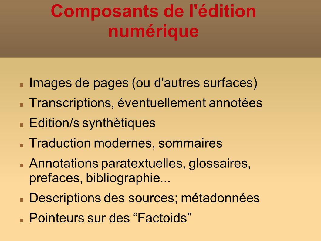 Composants de l édition numérique Images de pages (ou d autres surfaces) Transcriptions, éventuellement annotées Edition/s synthètiques Traduction modernes, sommaires Annotations paratextuelles, glossaires, prefaces, bibliographie...