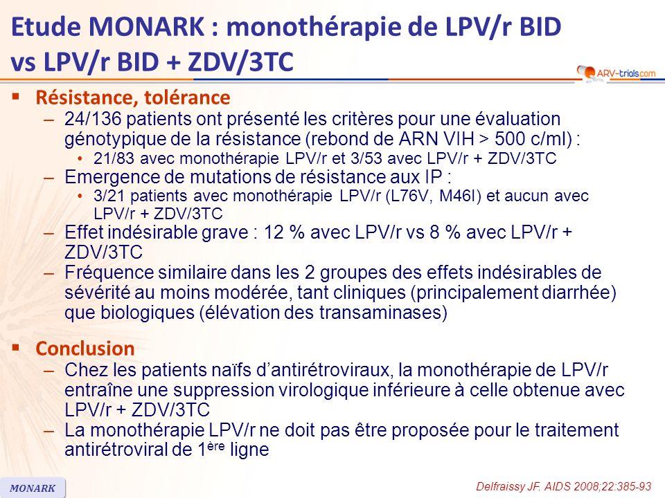 Résistance, tolérance –24/136 patients ont présenté les critères pour une évaluation génotypique de la résistance (rebond de ARN VIH > 500 c/ml) : 21/83 avec monothérapie LPV/r et 3/53 avec LPV/r + ZDV/3TC –Emergence de mutations de résistance aux IP : 3/21 patients avec monothérapie LPV/r (L76V, M46I) et aucun avec LPV/r + ZDV/3TC –Effet indésirable grave : 12 % avec LPV/r vs 8 % avec LPV/r + ZDV/3TC –Fréquence similaire dans les 2 groupes des effets indésirables de sévérité au moins modérée, tant cliniques (principalement diarrhée) que biologiques (élévation des transaminases) Conclusion –Chez les patients naïfs dantirétroviraux, la monothérapie de LPV/r entraîne une suppression virologique inférieure à celle obtenue avec LPV/r + ZDV/3TC –La monothérapie LPV/r ne doit pas être proposée pour le traitement antirétroviral de 1 ère ligne Delfraissy JF.