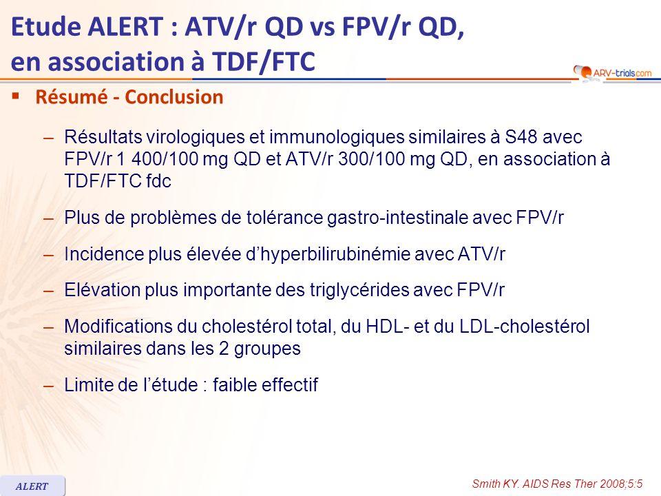 Etude ALERT : ATV/r QD vs FPV/r QD, en association à TDF/FTC Résumé - Conclusion –Résultats virologiques et immunologiques similaires à S48 avec FPV/r