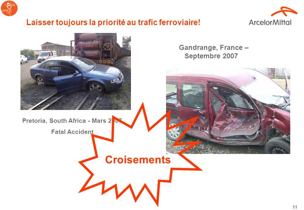 10...La plupart des accidents fatals arrive....... Aux croisement et au cours des manœuvres et accrochage/ décrochage Dangers dans les activités ferro