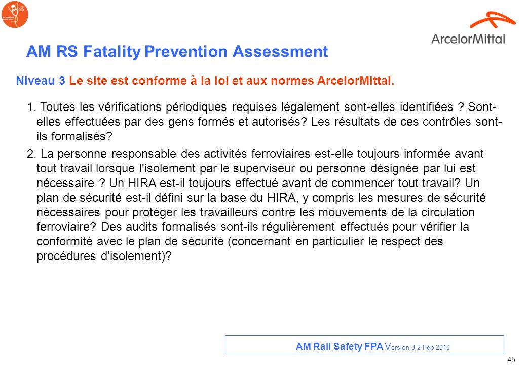 44 AM RS Fatality Prevention Assessment 5. Des communications officielles ont-elles été faites à tous les employés sur les règles concernant les passa