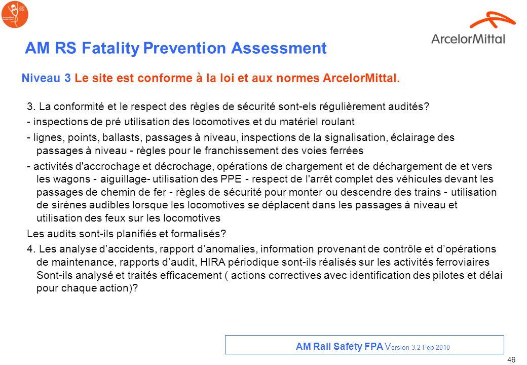 45 AM RS Fatality Prevention Assessment 1. Toutes les vérifications périodiques requises légalement sont-elles identifiées ? Sont- elles effectuées pa