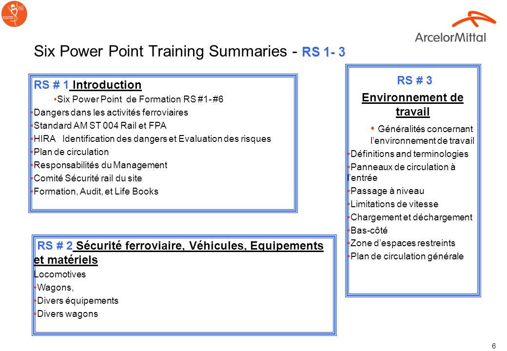 5 Power Point Trainings Rail Safety RS #1- #6 RS # 1Introduction RS # 2 Sécurité ferroviaire véhicules, Equipements et Matériels RS # 3 Environnement