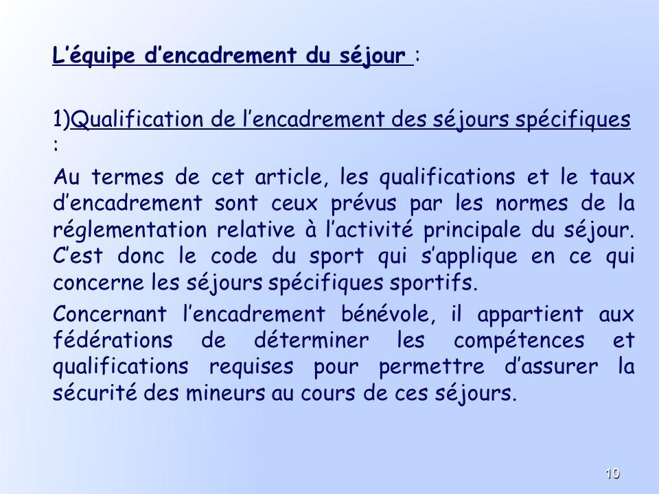 Léquipe dencadrement du séjour : 1) 1)Qualification de lencadrement des séjours spécifiques : Au termes de cet article, les qualifications et le taux
