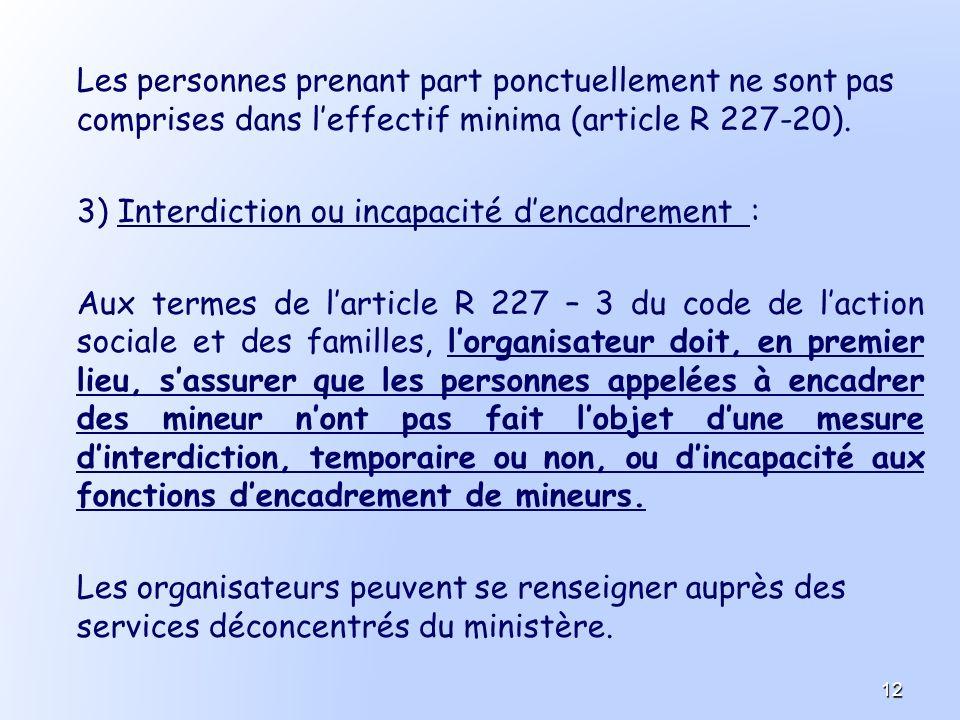Les personnes prenant part ponctuellement ne sont pas comprises dans leffectif minima (article R 227-20). 3) Interdiction ou incapacité dencadrement :