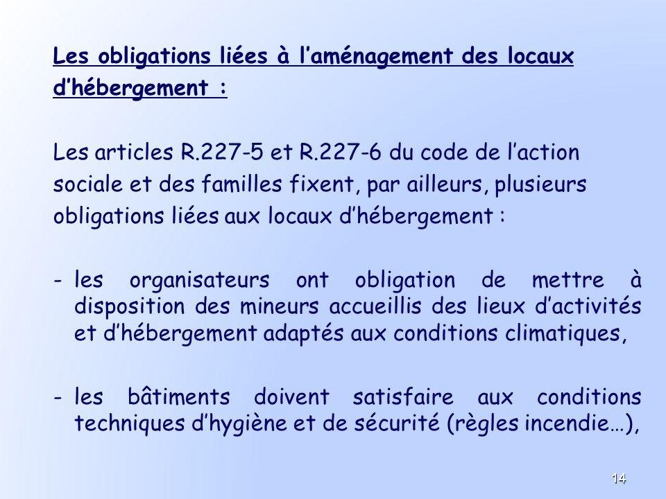Les obligations liées à laménagement des locaux dhébergement : Les articles R.227-5 et R.227-6 du code de laction sociale et des familles fixent, par
