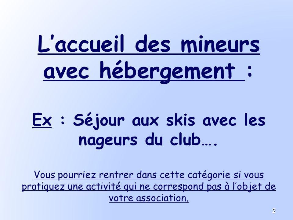 Laccueil des mineurs avec hébergement : Ex : Séjour aux skis avec les nageurs du club…. Vous pourriez rentrer dans cette catégorie si vous pratiquez u