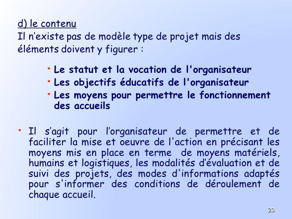 d) le contenu Il nexiste pas de modèle type de projet mais des éléments doivent y figurer : Le statut et la vocation de l'organisateur Les objectifs é