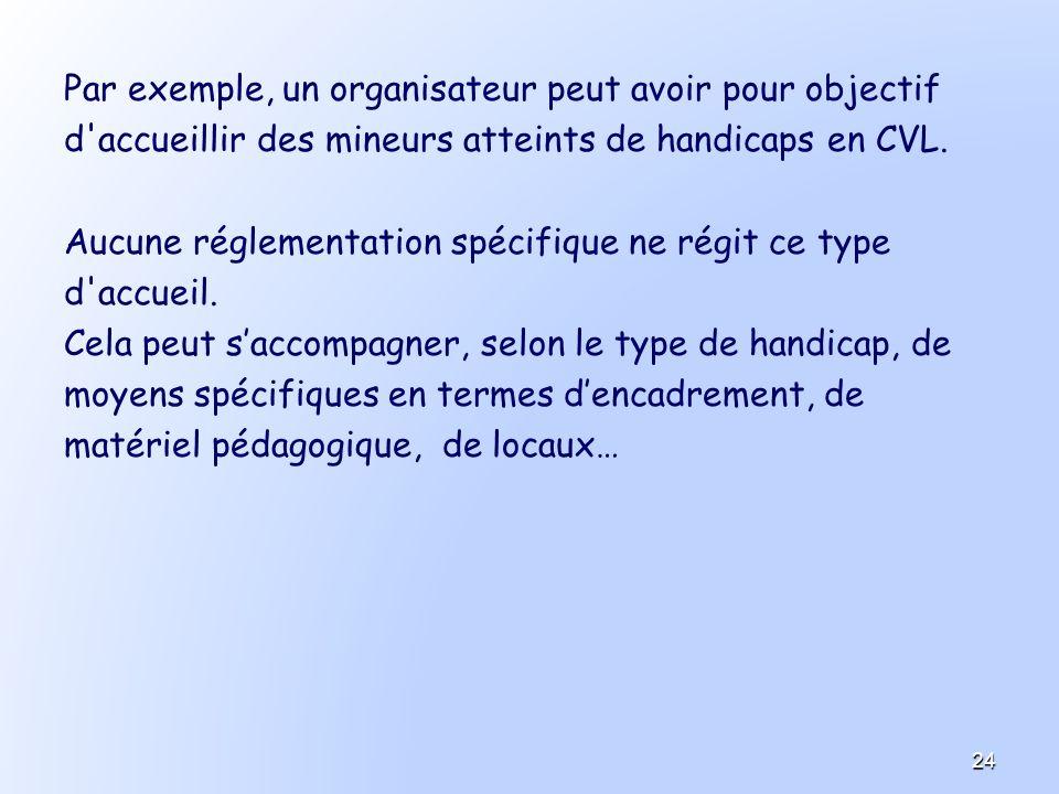 Par exemple, un organisateur peut avoir pour objectif d'accueillir des mineurs atteints de handicaps en CVL. Aucune réglementation spécifique ne régit