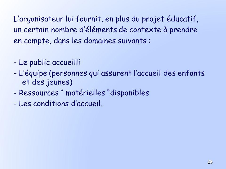 Lorganisateur lui fournit, en plus du projet éducatif, un certain nombre déléments de contexte à prendre en compte, dans les domaines suivants : - Le
