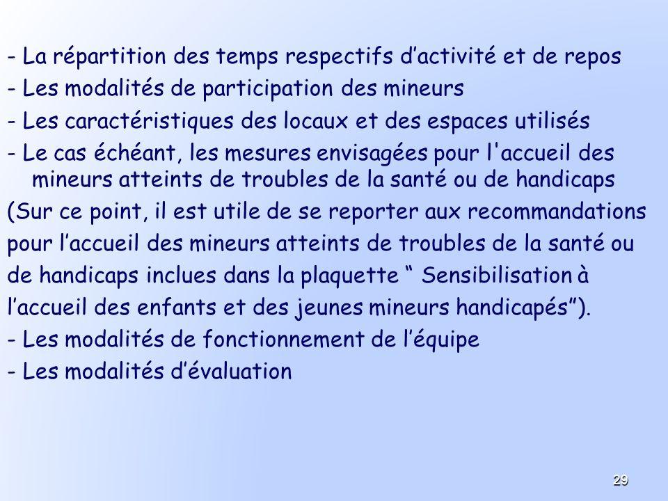 - La répartition des temps respectifs dactivité et de repos - Les modalités de participation des mineurs - Les caractéristiques des locaux et des espa