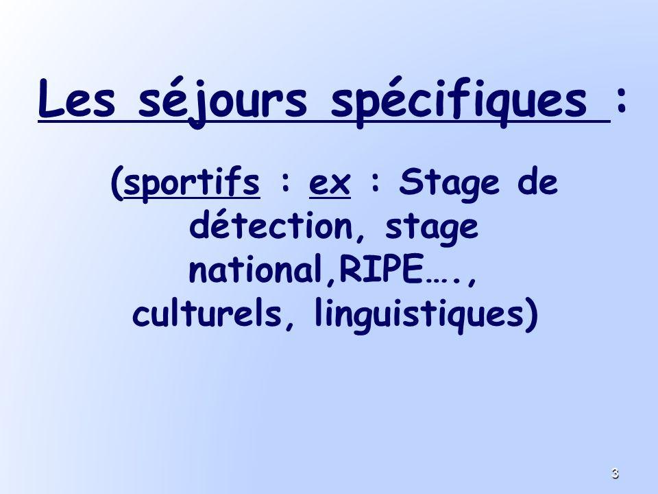 Les séjours spécifiques : (sportifs : ex : Stage de détection, stage national,RIPE…., culturels, linguistiques) 3