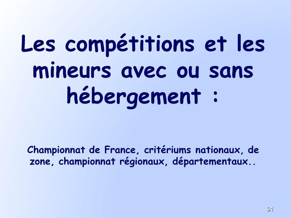 Les compétitions et les mineurs avec ou sans hébergement : Championnat de France, critériums nationaux, de zone, championnat régionaux, départementaux