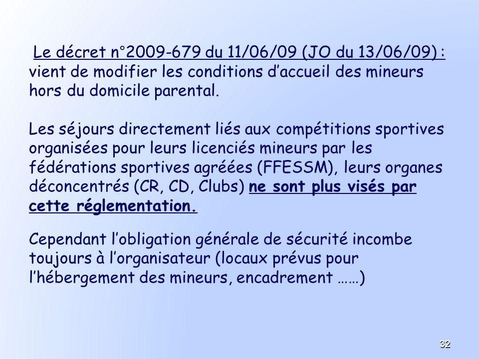 Le décret n°2009-679 du 11/06/09 (JO du 13/06/09) : vient de modifier les conditions daccueil des mineurs hors du domicile parental. Les séjours direc