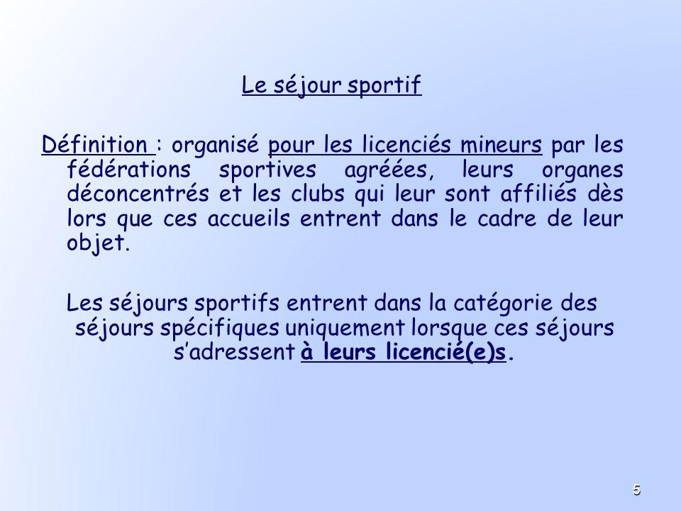 Le séjour sportif Définition : organisé pour les licenciés mineurs par les fédérations sportives agréées, leurs organes déconcentrés et les clubs qui