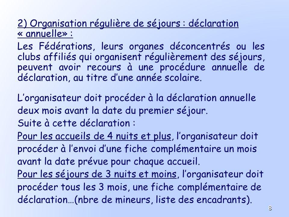 2) Organisation régulière de séjours : déclaration « annuelle» : Les Fédérations, leurs organes déconcentrés ou les clubs affiliés qui organisent régu