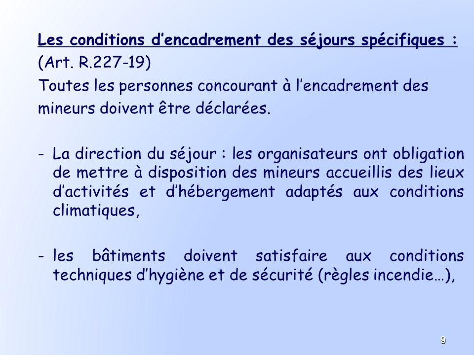 Les conditions dencadrement des séjours spécifiques : (Art. R.227-19) Toutes les personnes concourant à lencadrement des mineurs doivent être déclarée