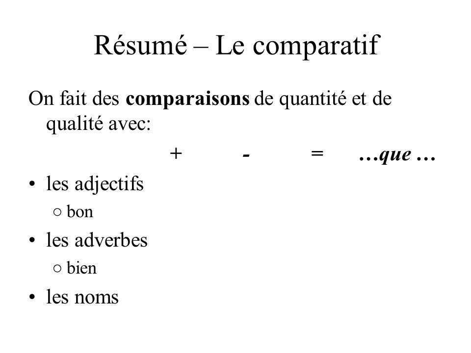 Résumé – Le comparatif On fait des comparaisons de quantité et de qualité avec: + - = …que … les adjectifs bon les adverbes bien les noms
