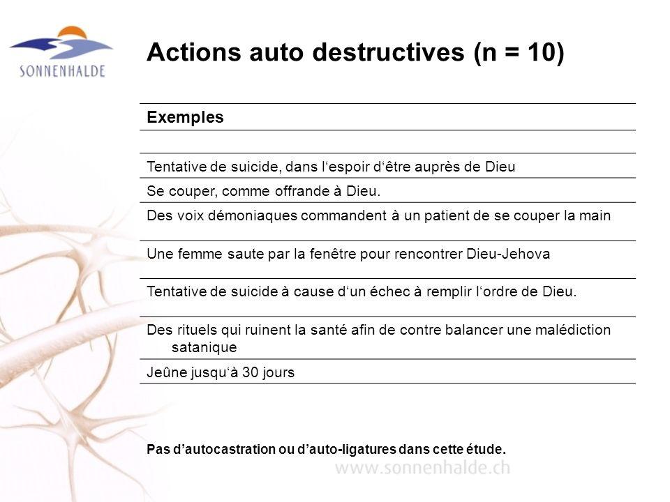 Actions auto destructives (n = 10) Exemples Tentative de suicide, dans lespoir dêtre auprès de Dieu Se couper, comme offrande à Dieu. Des voix démonia