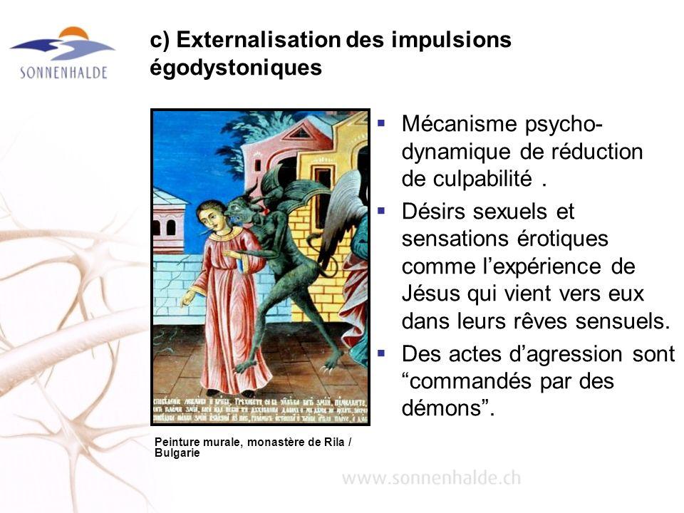 c) Externalisation des impulsions égodystoniques Mécanisme psycho- dynamique de réduction de culpabilité. Désirs sexuels et sensations érotiques comme