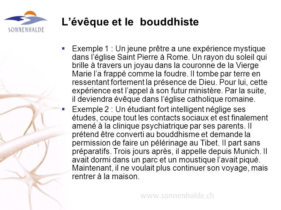 Lévêque et le bouddhiste Exemple 1 : Un jeune prêtre a une expérience mystique dans léglise Saint Pierre à Rome. Un rayon du soleil qui brille à trave