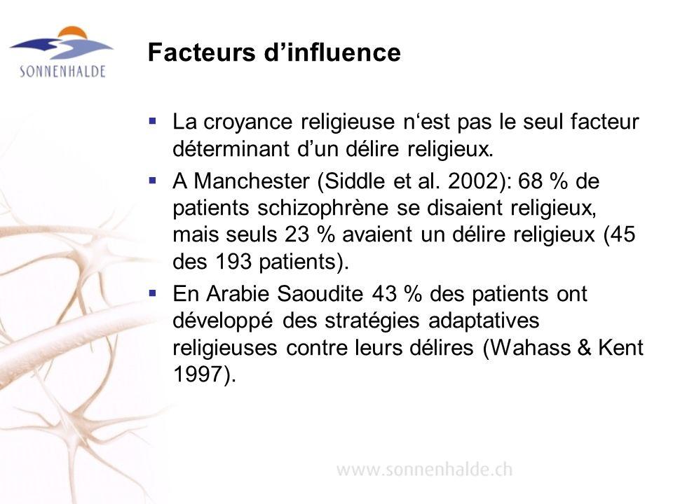 Facteurs dinfluence La croyance religieuse nest pas le seul facteur déterminant dun délire religieux. A Manchester (Siddle et al. 2002): 68 % de patie