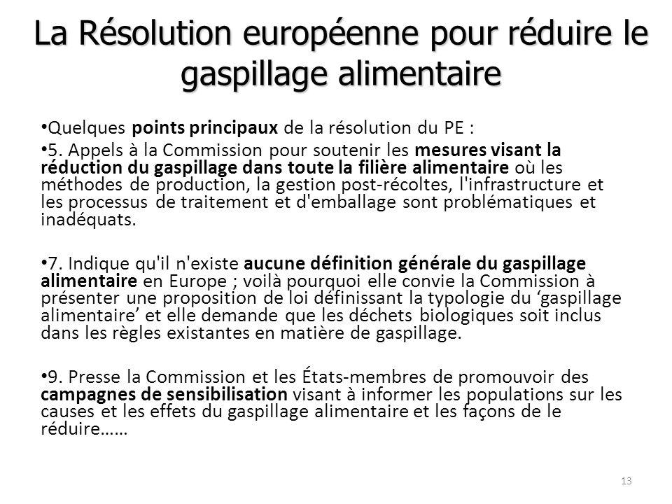 La Résolution européenne pour réduire le gaspillage alimentaire Quelques points principaux de la résolution du PE : 5. Appels à la Commission pour sou