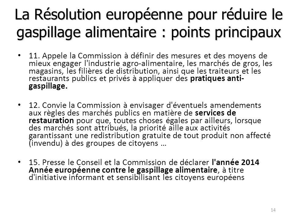 La Résolution européenne pour réduire le gaspillage alimentaire : points principaux 11. Appele la Commission à définir des mesures et des moyens de mi