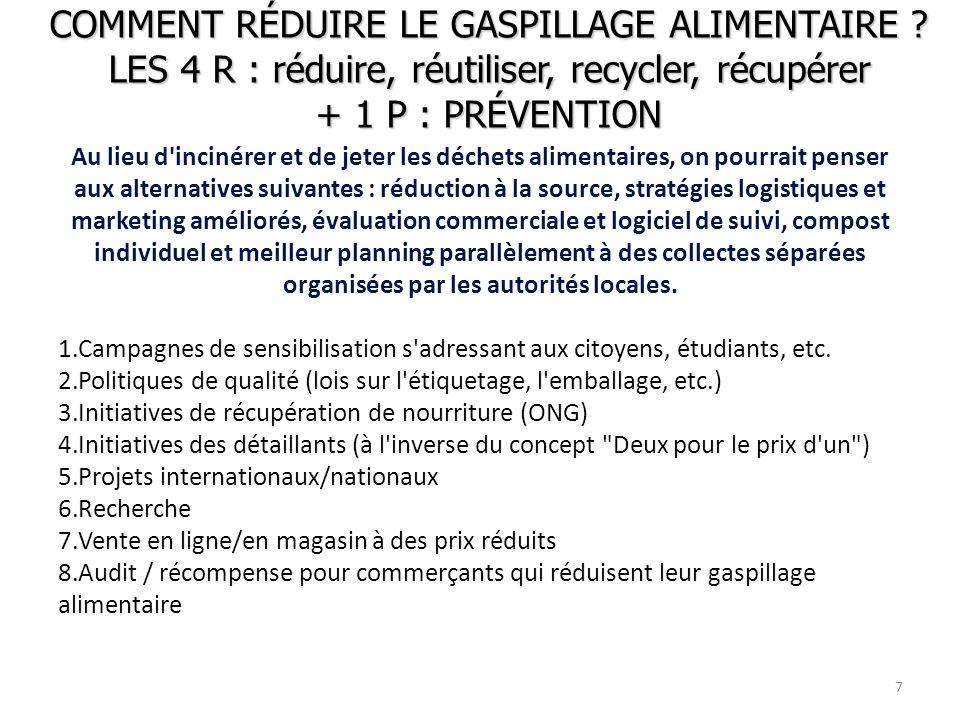 COMMENT RÉDUIRE LE GASPILLAGE ALIMENTAIRE ? LES 4 R : réduire, réutiliser, recycler, récupérer + 1 P : PRÉVENTION Au lieu d'incinérer et de jeter les