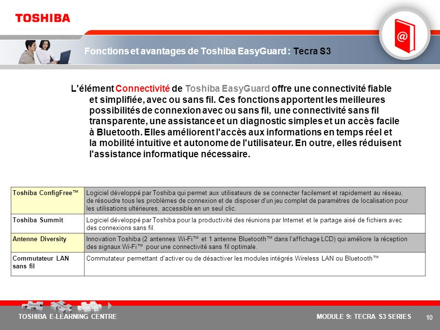 9 TOSHIBA E-LEARNING CENTREMODULE 9: TECRA S3 SERIES Fonctions et avantages de Toshiba EasyGuard : Tecra S3 L'élément Protection et dépannage de Toshi