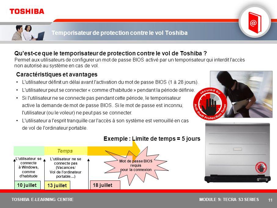 10 TOSHIBA E-LEARNING CENTREMODULE 9: TECRA S3 SERIES Fonctions et avantages de Toshiba EasyGuard : Tecra S3 Toshiba ConfigFreeLogiciel développé par
