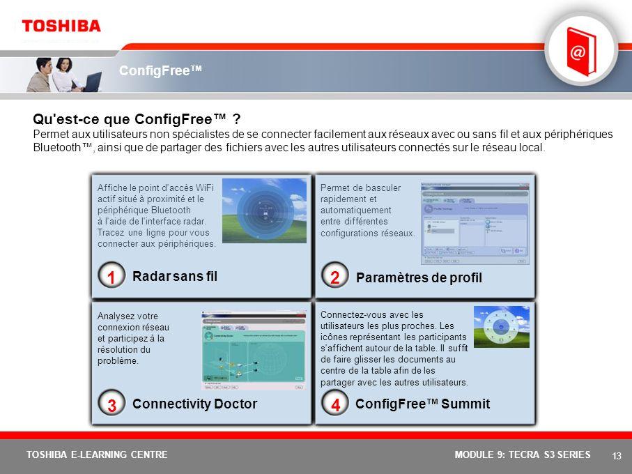 12 TOSHIBA E-LEARNING CENTREMODULE 9: TECRA S3 SERIES Identification unique par lecteur d'empreintes digitales Qu'est-ce que la technologie de lecteur