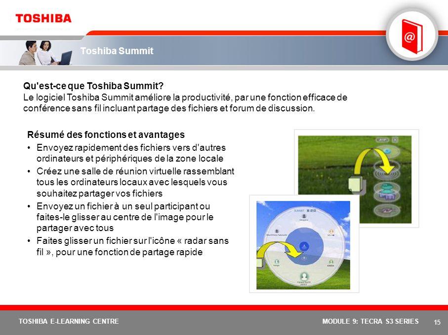 14 TOSHIBA E-LEARNING CENTREMODULE 9: TECRA S3 SERIES Fonction de connexion automatique W-WAN Elle permet de se connecter automatiquement à une carte