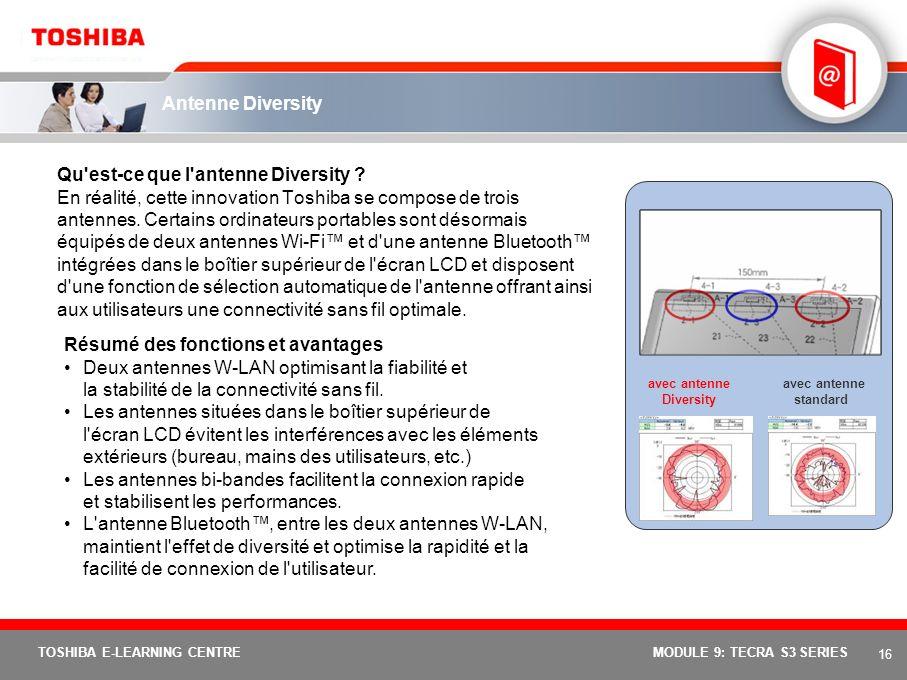 15 TOSHIBA E-LEARNING CENTREMODULE 9: TECRA S3 SERIES Toshiba Summit Résumé des fonctions et avantages Envoyez rapidement des fichiers vers d'autres o