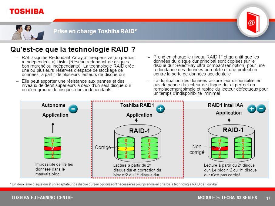 16 TOSHIBA E-LEARNING CENTREMODULE 9: TECRA S3 SERIES Antenne Diversity Qu'est-ce que l'antenne Diversity ? En réalité, cette innovation Toshiba se co