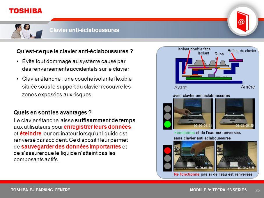 19 TOSHIBA E-LEARNING CENTREMODULE 9: TECRA S3 SERIES Dispositif antichoc Résumé des fonctions et avantages Protection antichoc grâce à une base élarg
