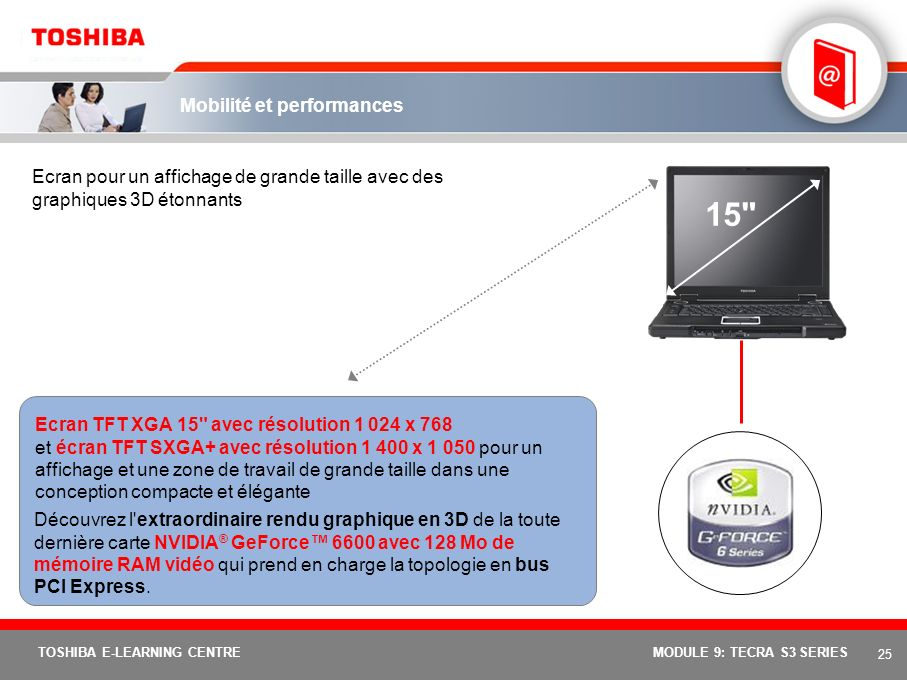 24 TOSHIBA E-LEARNING CENTREMODULE 9: TECRA S3 SERIES Mobilité et performances Grâce à la toute dernière technologie mobile Intel ® Centrino Mobile incluant : –les processeurs Intel ® Pentium ® M (bus frontal jusqu à 533 MHz et prise en charge de la fonction de protection XD-Bit, Execute Disable Bit) –Chipset mobile Intel ® 915PM Express.