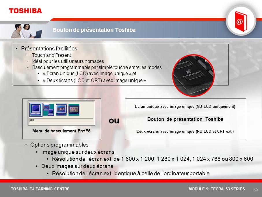 34 TOSHIBA E-LEARNING CENTREMODULE 9: TECRA S3 SERIES Résumé des fonctions Zoom AVANT et ARRIERE instantanément Fn+1 pour réduire les polices Fn+2 pou