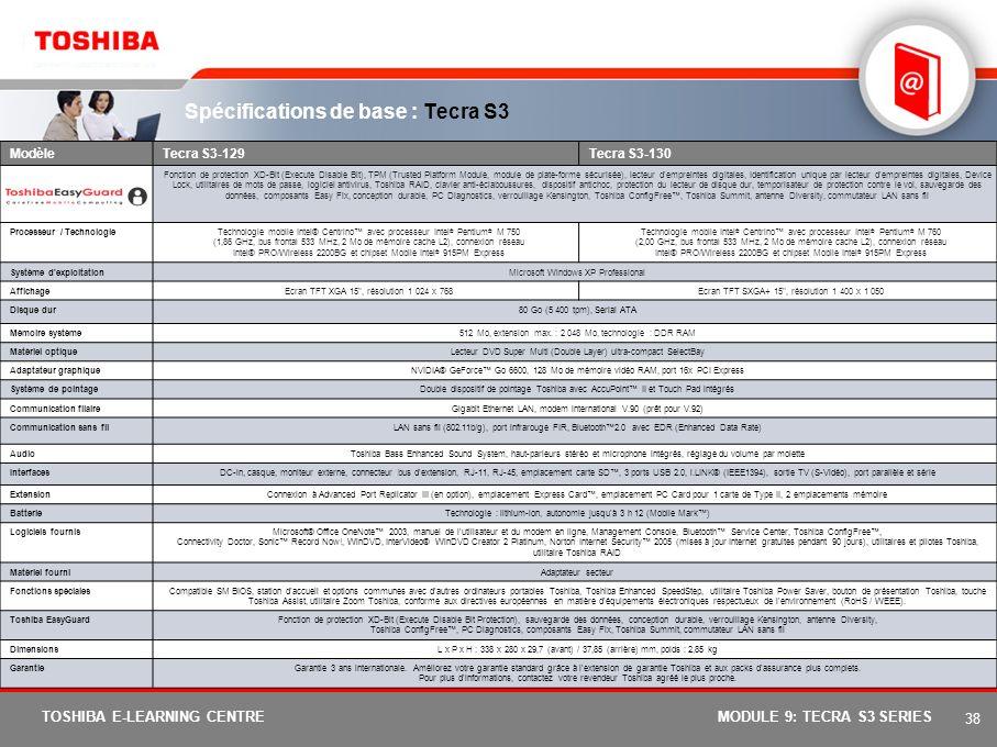 37 TOSHIBA E-LEARNING CENTREMODULE 9: TECRA S3 SERIES Moniteur principal externe Nouveau Sélection du bureau étendu. En mode unique ou clone, l'utilis
