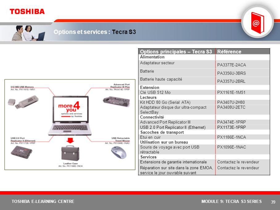 38 TOSHIBA E-LEARNING CENTREMODULE 9: TECRA S3 SERIES Spécifications de base : Tecra S3 ModèleTecra S3-129Tecra S3-130 Fonction de protection XD-Bit (