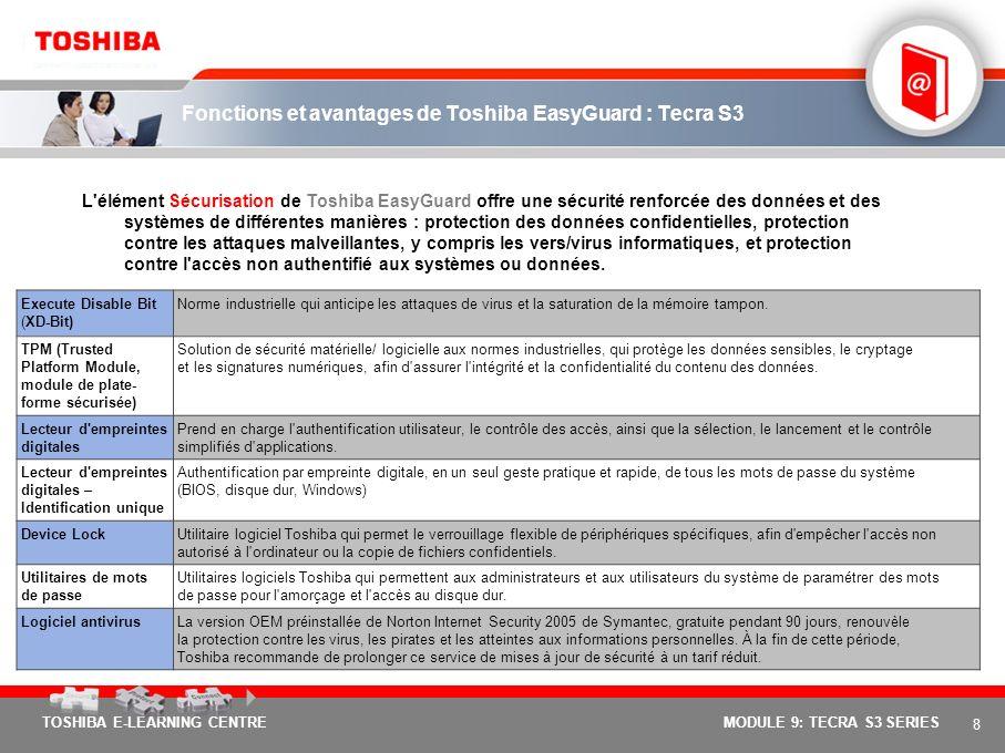 7 TOSHIBA E-LEARNING CENTREMODULE 9: TECRA S3 SERIES Trois éléments fondamentaux pour une informatique mobile en toute tranquillité Afin de répondre a