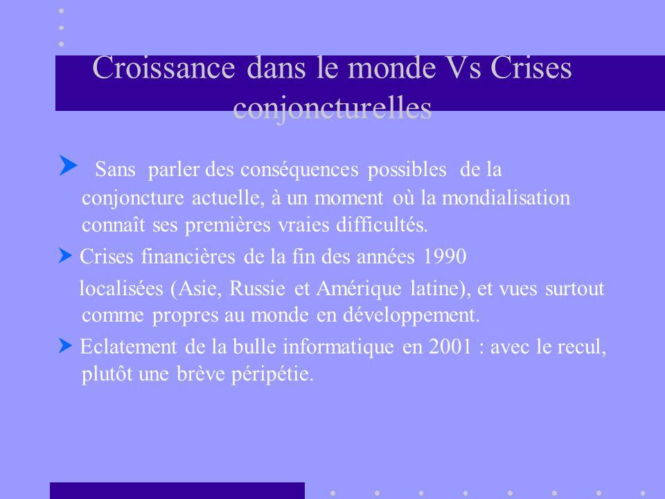 Croissance dans le monde Vs Crises conjoncturelles Sans parler des conséquences possibles de la conjoncture actuelle, à un moment où la mondialisation