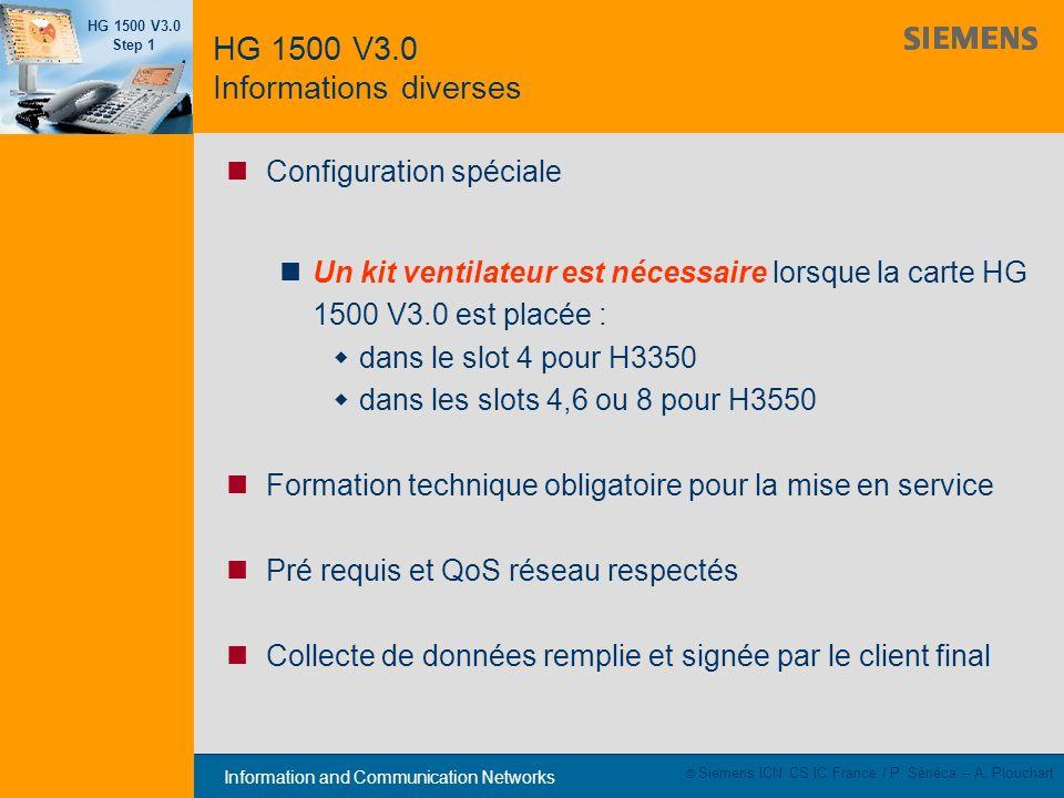 Information and Communication Networks HG 1500 V3.0 Step 1 © Siemens ICN CS IC France / P. Sénéca – A. Plouchart Configuration spéciale Un kit ventila