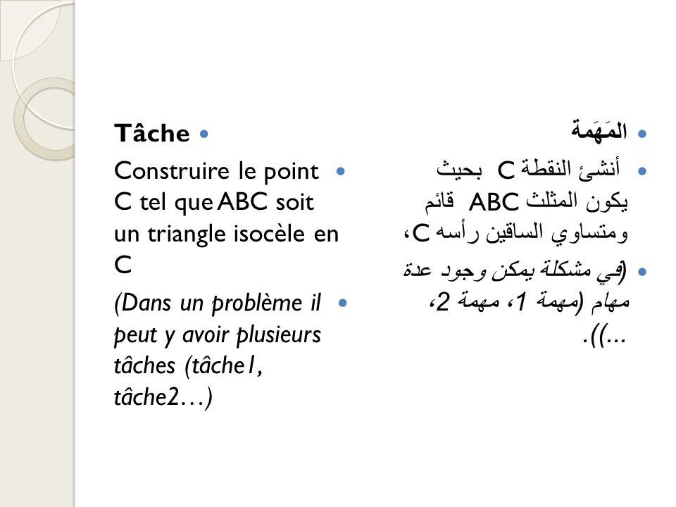 Tâche Construire le point C tel que ABC soit un triangle isocèle en C (Dans un problème il peut y avoir plusieurs tâches (tâche1, tâche2…) المَهَمة أن