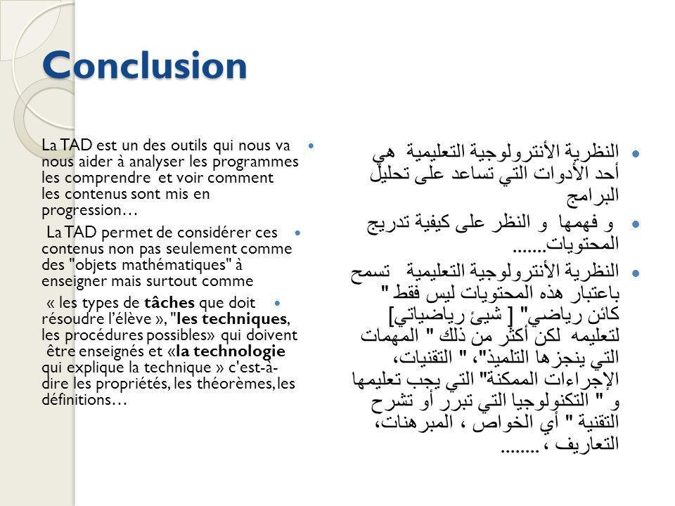 Conclusion La TAD est un des outils qui nous va nous aider à analyser les programmes les comprendre et voir comment les contenus sont mis en progressi