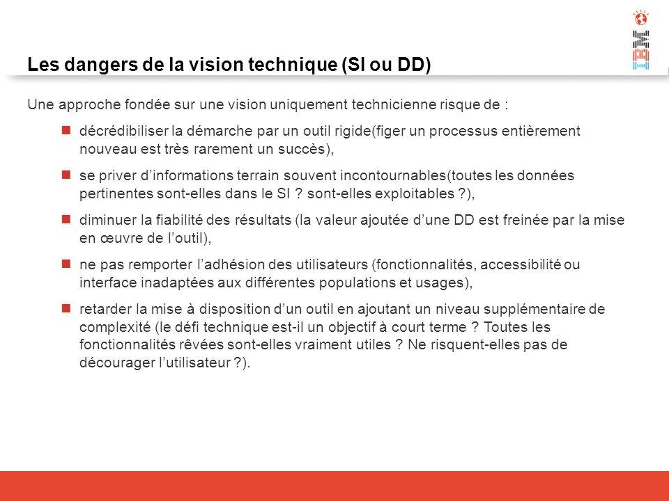 Les dangers de la vision technique (SI ou DD) Une approche fondée sur une vision uniquement technicienne risque de : décrédibiliser la démarche par un