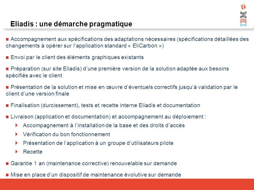 Eliadis : une démarche pragmatique Accompagnement aux spécifications des adaptations nécessaires (spécifications détaillées des changements à opérer s